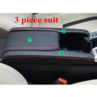 3pcs/set Car Styling PU Leather Center Armrest Box Leather Case Cover Trim For Honda Civic 2016 2017 Black with Red Line