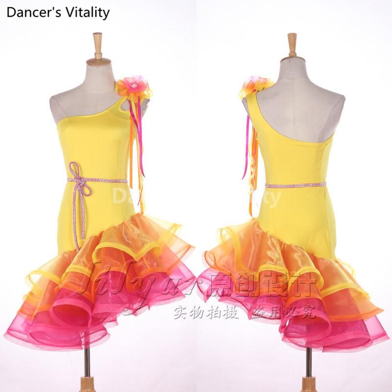 Latin Dancing Dress Women High Qaulity Custom Made Tango Rumba Samba Cha-cha Latin Yellow Latin Competition Dance Dresses