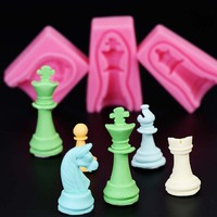 12pcs Set International Chess King Queen Knight Rook Pawn Bishop Double Sided Fondant Mould Cake Decorating