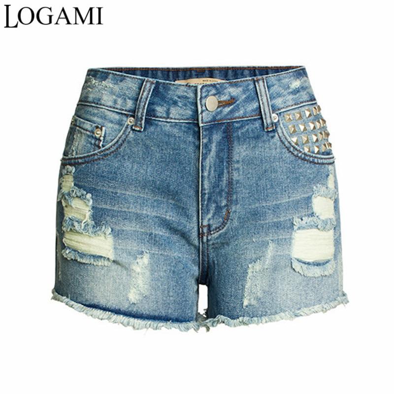 LOGAMI Rivet Ripped Denim Shorts Women Sexy Summer Short Jeans Mini Womens Shorts