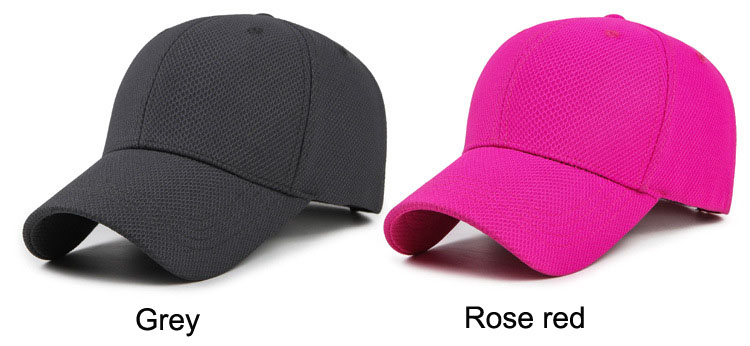Solid Cord Colors Adjustable Baseball Cap - Grey Cap and Rose Red Cap