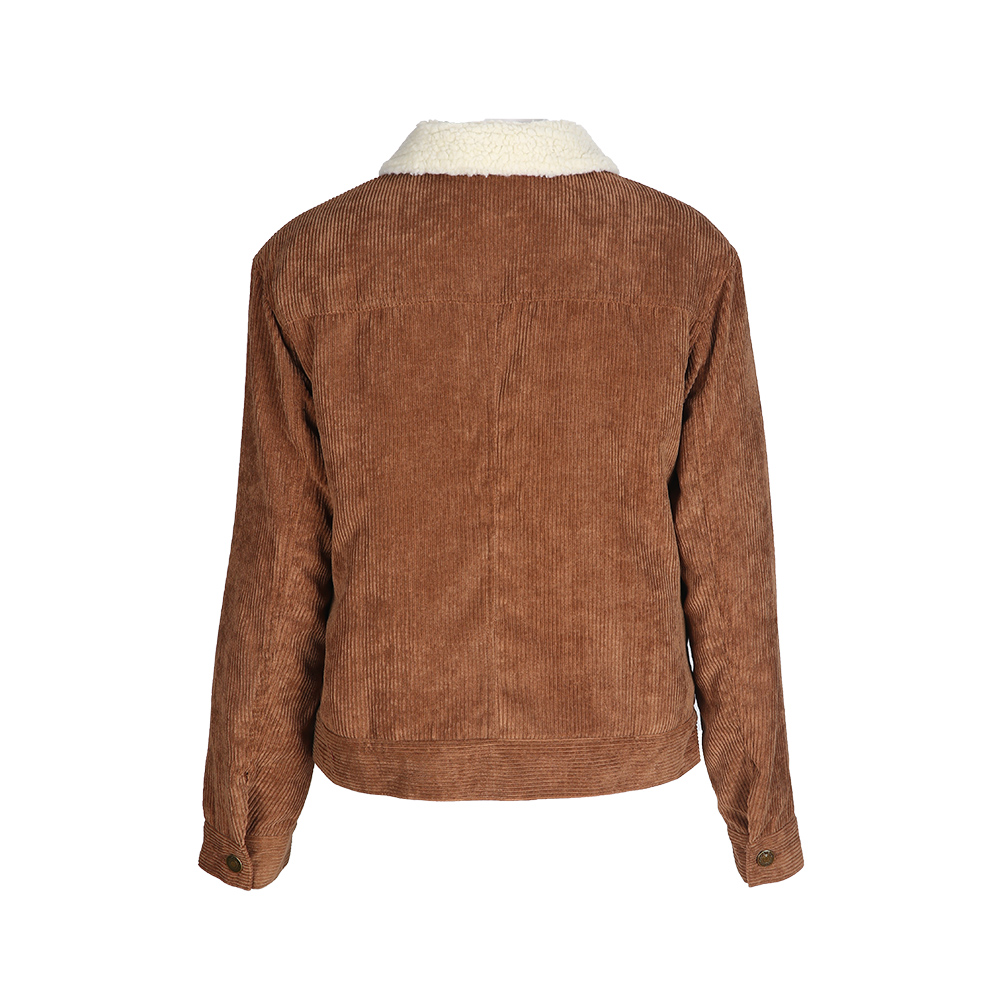 Image 2 - HDY Haoduoyi Winter Casual Brown Corduroy Long Sleeve Turn down Collar Denim Jacket Single Breasted Basic Women Warm Cotton Coat-in Jackets from Women's Clothing