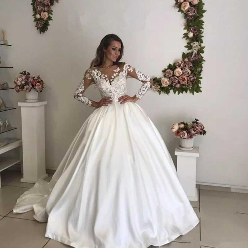 1ddb0566a 2018 НОВЫЕ шикарные свадебные платья с длинным рукавом Кружева Аппликации  молния и пуговицы сзади для выпускного