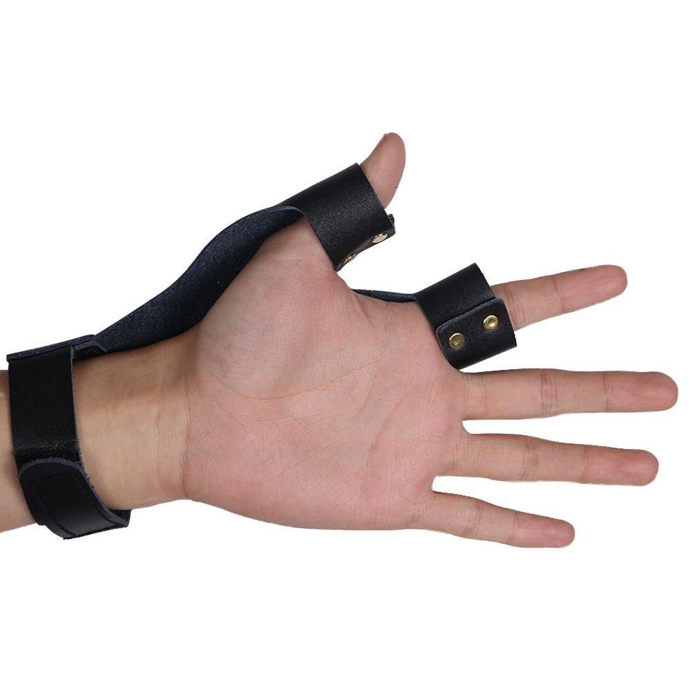 Useful Archery Glove Leather Protection Finger Shooting Reflex Bow Straight Cow