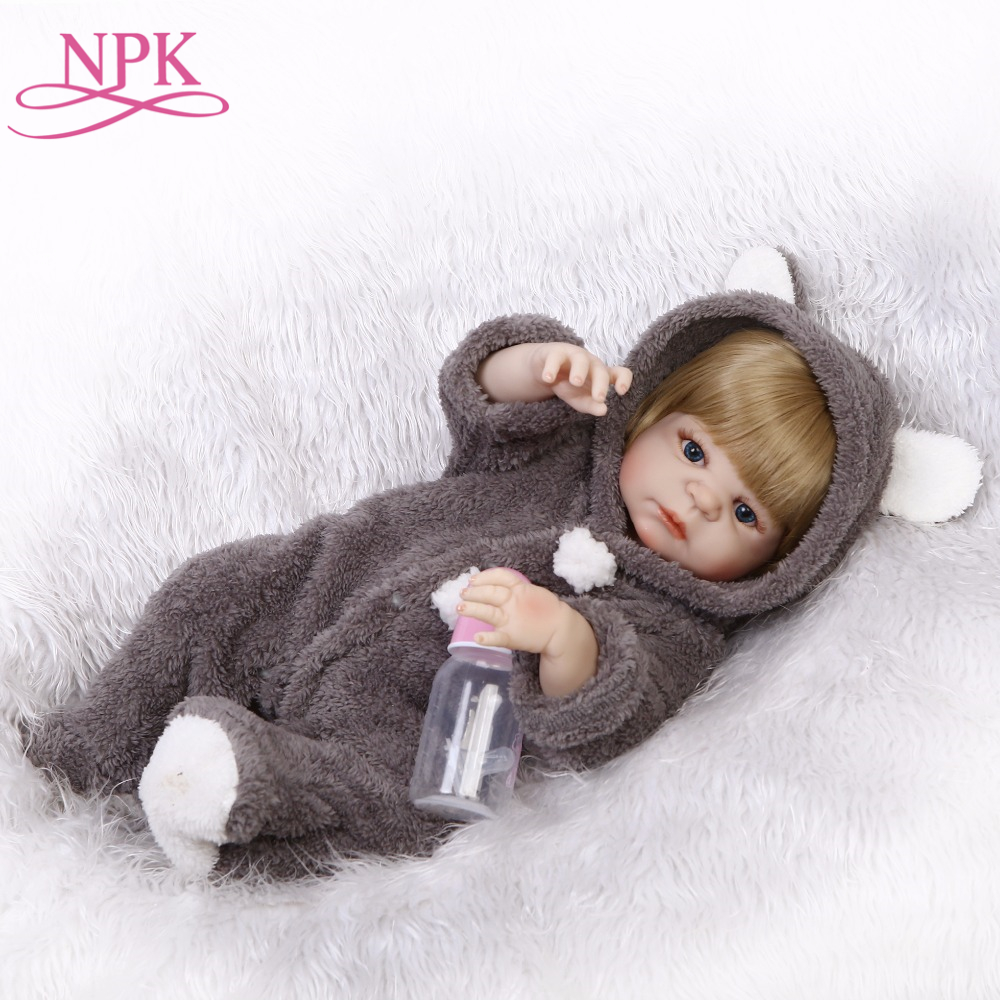 NPK full silicone vinyl reborn dolls Newborn baby 22inches57cm Plush clothes alive baby girl child gifts