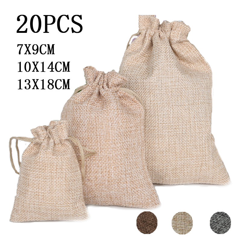 20Pcs Natural Linen Gift Bags Wedding Party Gift Pouch Candy Beads Favor Holder Drawstring Jewelry storage Muslin Christmas