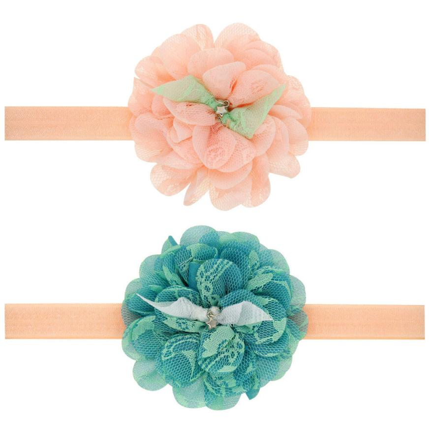 Кружево повязка большим цветочным узором Женские аксессуары для волос для Обувь для девочек принцесса Hairband Accessoire волосы резинкой 0 месяцев ...