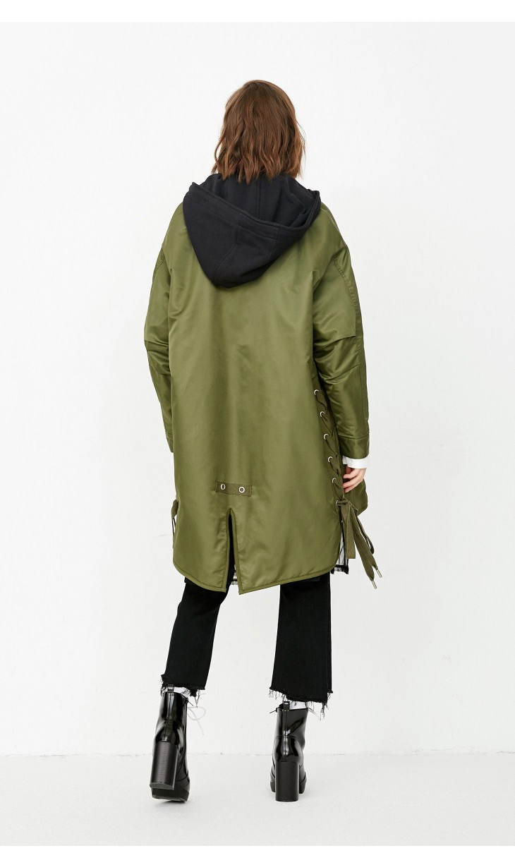 ONLY Women's Lace-up Hooded Cotton Coat |118122502 9