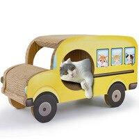 Cardboard Cat Scratcher Corrugated Paper Car Bus for Pet Cats Dogs Playing Board Sofa Beds Cardboard House Cat Mat Scratch Shelf