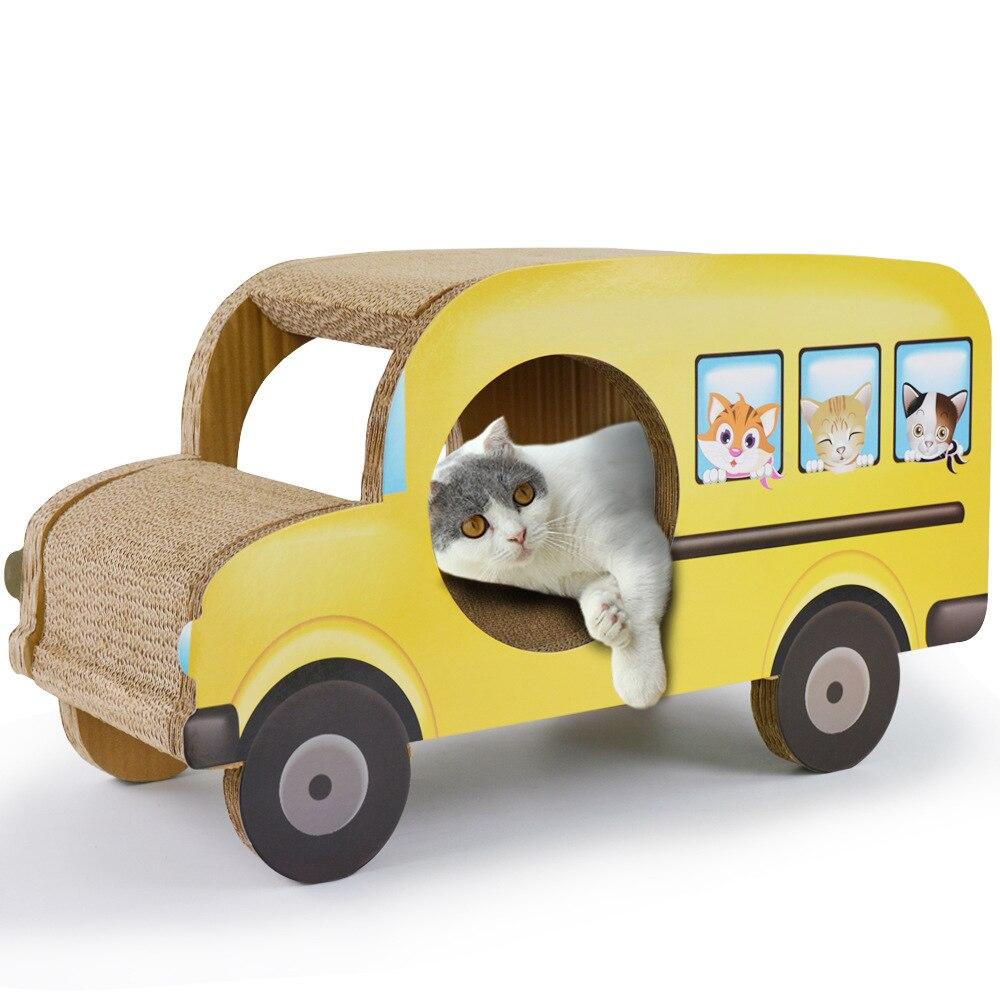 Carton chat Scratcher carton ondulé Bus de voiture pour animaux de compagnie chats chiens jouant conseil canapé lits carton maison chat Mat Scratch étagère