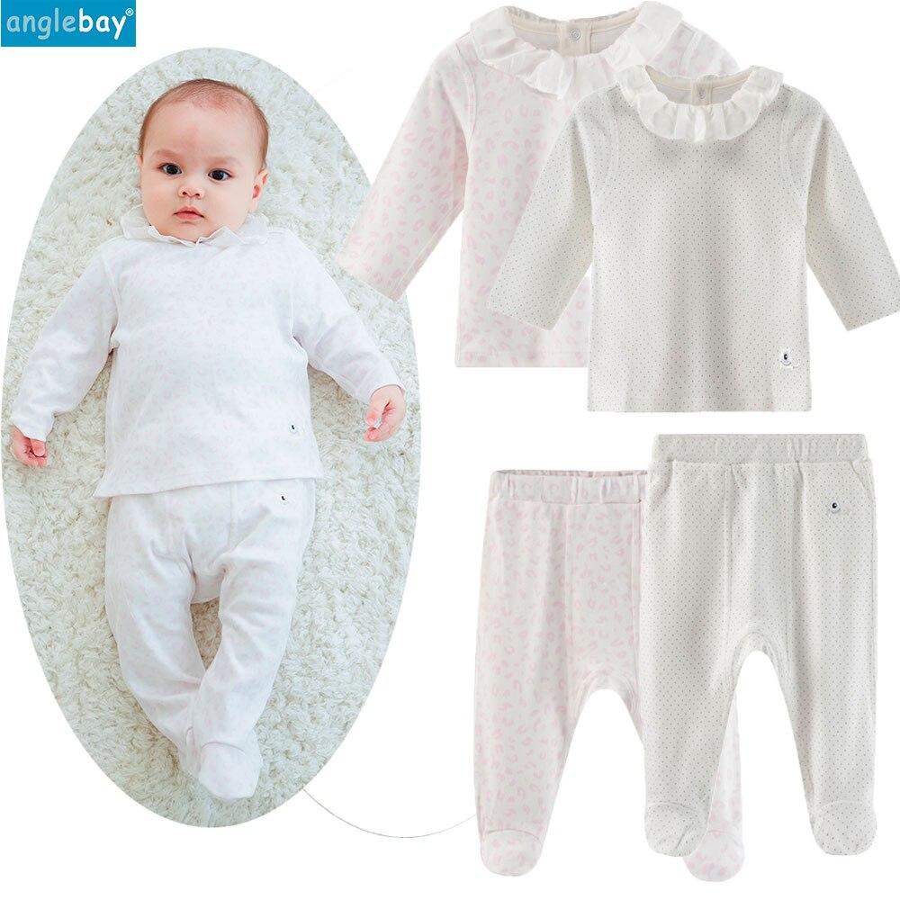 Anglebay Newborn Clothes 100% Cotton Baby Boys Girls Set for Newborn Solid Long Sleeve One Piece Newborn Set