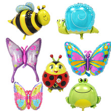 1pc Cartoon Animals Foil Balloon Butterfly Bee Ladybug Frog Balloons for Kids Happy Birthday Party Decorations Baby Shower Toys