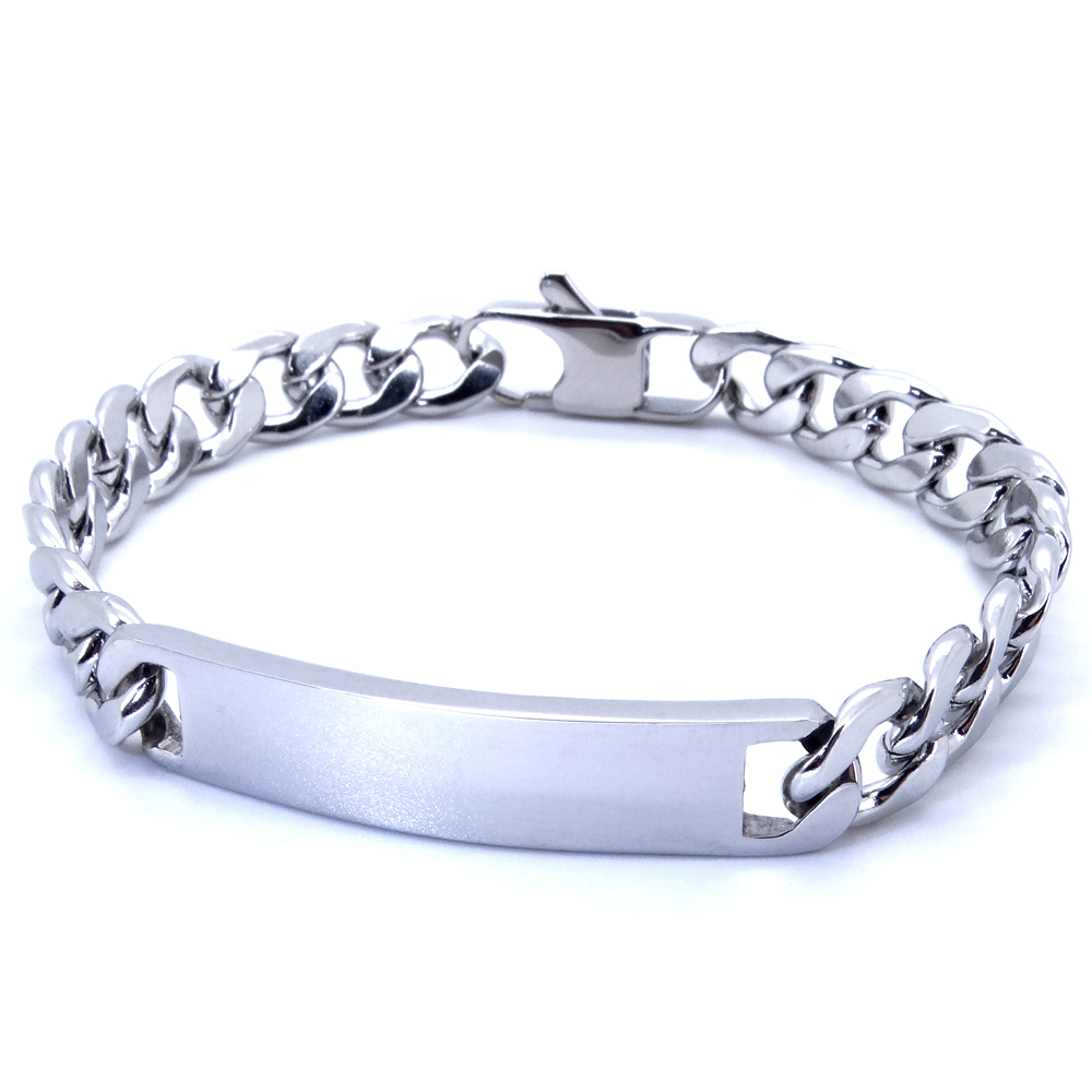 100% Stainless Steel Bracelet 9 mm 8 Inches Curb Cuban Chain Smooth Bar ID Bracelets for Men Women Free Shipping Factory Offer