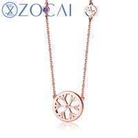 ZOCAI New Arriva lCE and FIRE Series 0.02 ct real diamond with 0.01 Ct real ruby 18K rose gold necklace JBD90105T