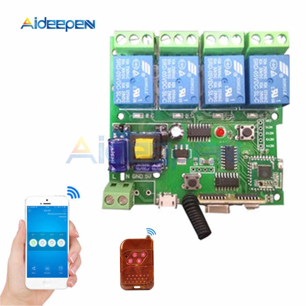 Smart Home Automation Modul DIY Saklar Nirkabel Remote Contro 4CH DC5V 7-32V AC 90-250V dan 433 MHZ Wifi Switch dengan Timer