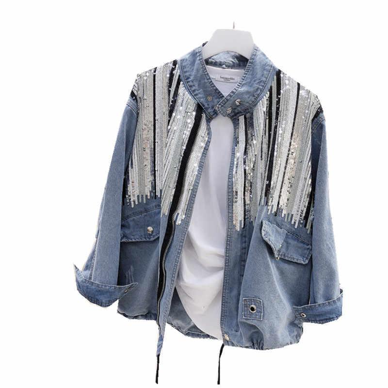 2018 Sequins DENIM เสื้อผู้หญิงเสื้อแฟชั่นแขนยาวเสื้อโค้ท VINTAGE Hippie กางเกงยีนส์แจ็คเก็ต Colete Feminino B489