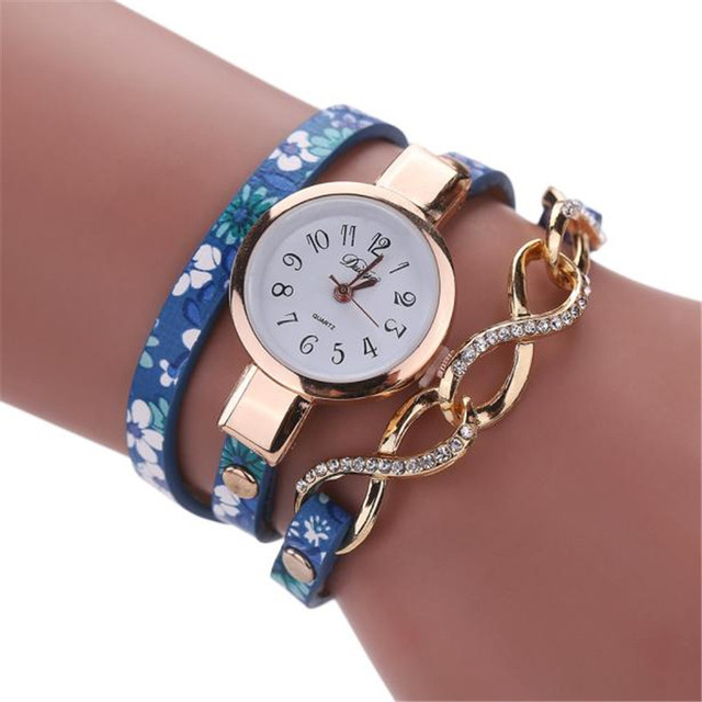 Duoya Brand luxury Brand Casual Women's Watches PU Leather Korean Crystal Rivet