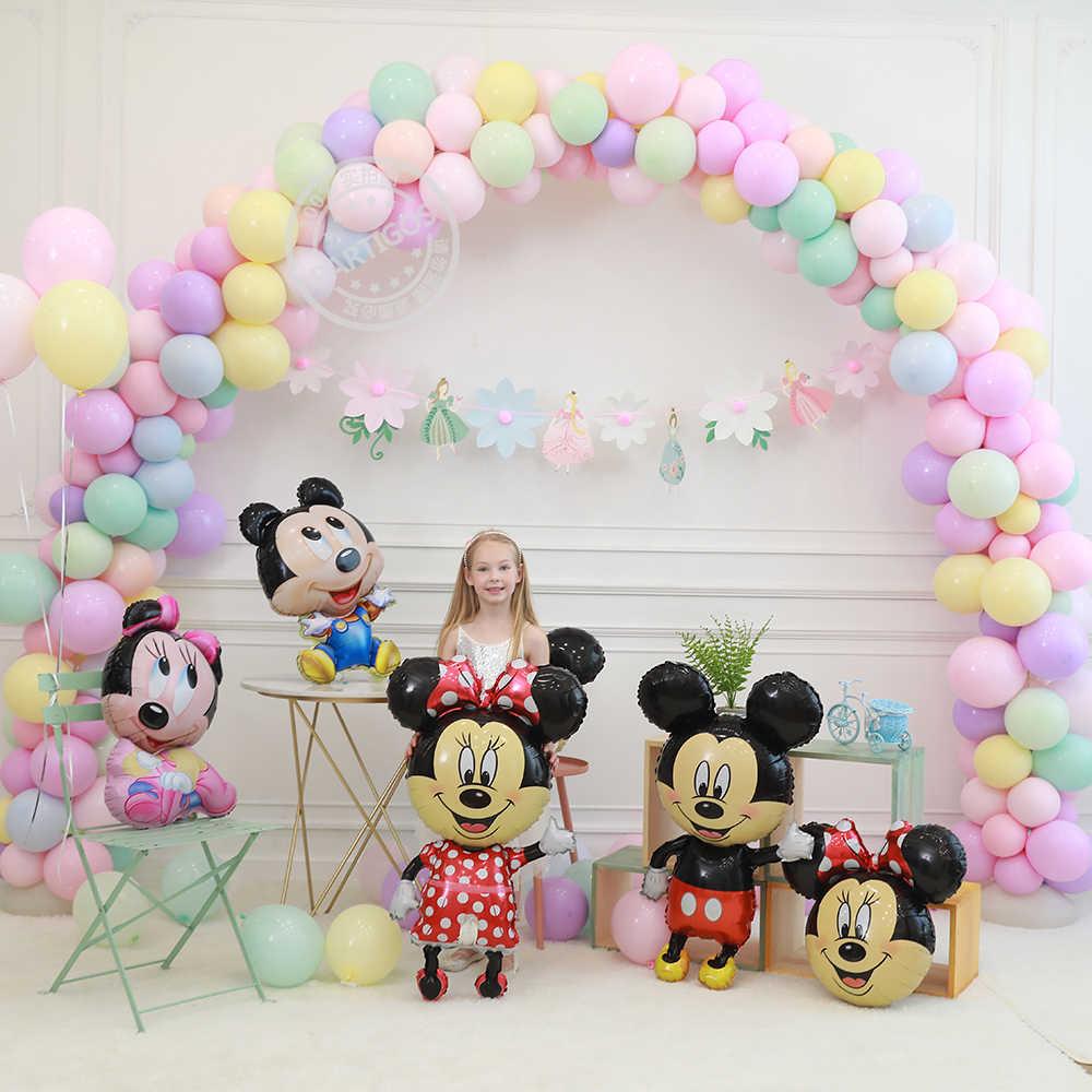 Ukuran Raksasa Mickey Minnie Balloons 112 Cm Besar Ikatan Simpul Merah Berdiri Mouse Balon untuk Anak-anak Pesta Ulang Tahun