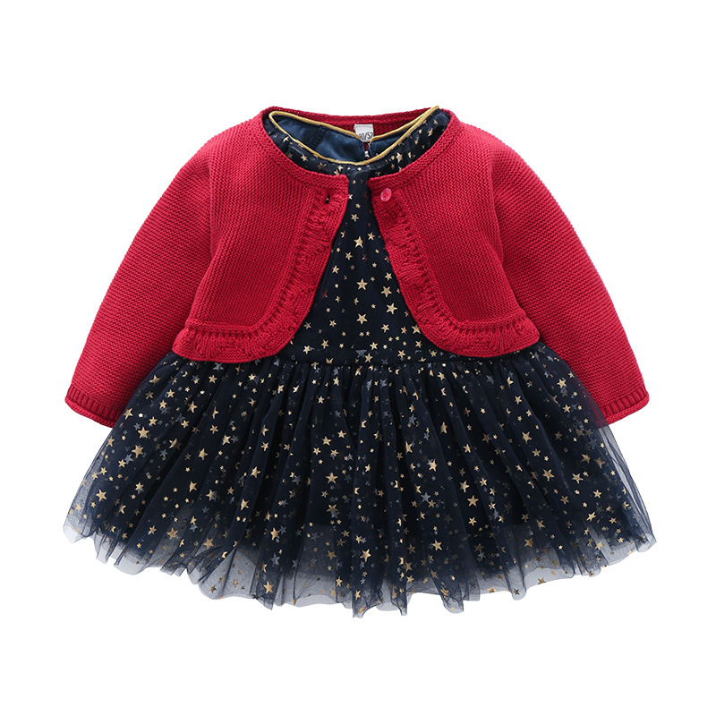 Autumn&Spring Girl Birthday Party Suit Red Cardigan+Black Star Dress Knitting Top&Navy Blue Dress Girl Princess Kids Party Wear spring autumn woman dress faux pearl rhinestone beading sleeve cuff knitted dress fashion vintage elastic black red party dress
