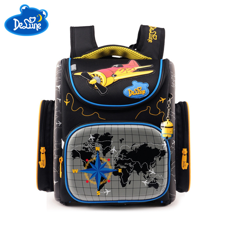 Delune Brand Ergonomic Design Children Large Orthopedic Foldable School Bags Kids Primary Boys Cartoon School Backpack for Girls children school bag minecraft cartoon backpack pupils printing school bags hot game backpacks for boys and girls mochila escolar