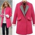 REINO UNIDO New Fashion 2017 Outono/Inverno Estilo ZA Mulheres Rosa Casaco de Lã Patchwork Blazer Entalhado Excelente qualidade Pano S-XL