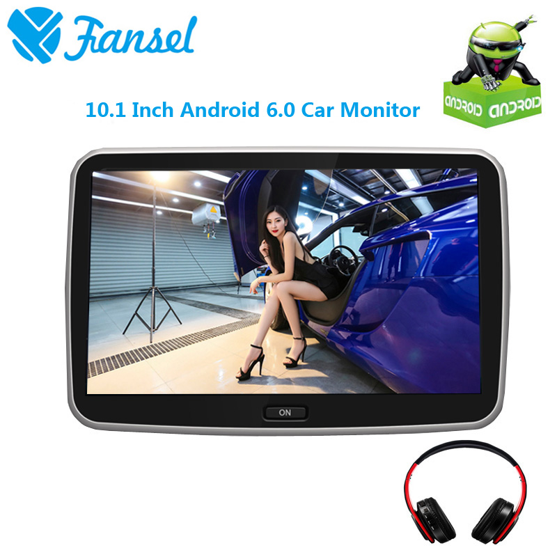 Fansel 10.1 Inch Android 6.0 Car Headrest Monitor IPS Touch Screen 1080P Video WIFI/USB/SD/Bluetooth/FM Transmitter/Speaker/Game