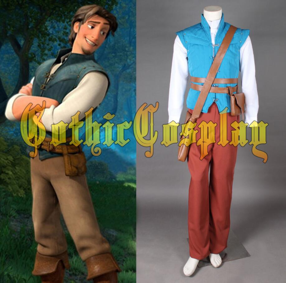 New! Movie Enchanted Tangled Rapunzel Prince Flynn Rider Cosplay Costume