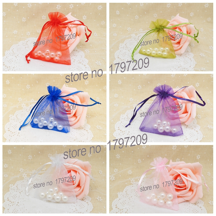 50pcs 810cm 6 Colors Strong Sheer Organza Pouch Wedding Favors And