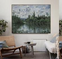 Seine Riverside by Claude Monet Posters and Print Canvas Painting Calligraphy Wall Pictures for Living Room Bedroom Home Decor morning on the seine by monet canvas painting