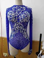 Блестящие синие со стразами пикантные боди кисточкой наряд Одежда для танцев праздничный костюм на день рождения Стадия Клубная одежда куп