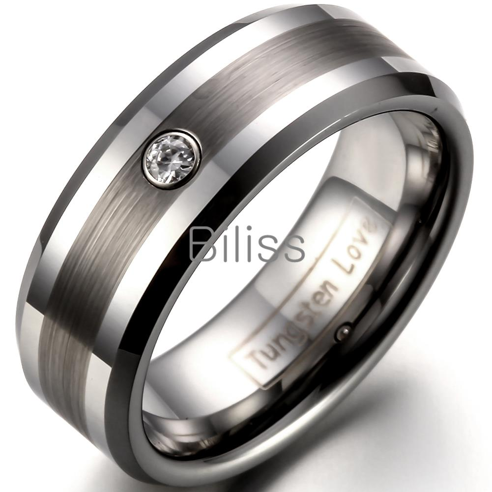 8mm Comfort Fit Tungsten Carbide Ring for Men Wedding Bands Ring