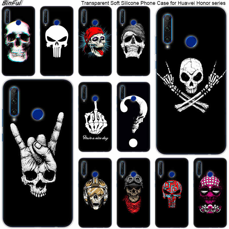 Hot Rock Cool skull Soft Silicone Phone Case for Huawei Honor 20 20i 10 9 8 Lite 8X 8C 8A 8S 7S 7A Pro View 20 Fashion Cover