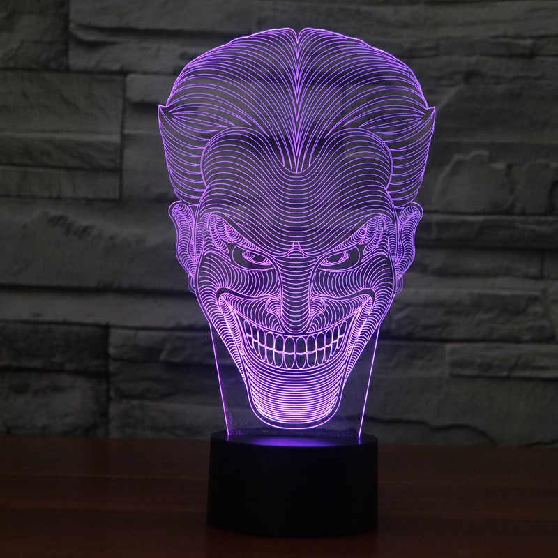 3D LED Atmosfera Criativa Candeeiro de Mesa Toy Captain America/Homem-Aranha/Star Wars 7 Gradiente de cor Visual perspectiva Luzes Lnt
