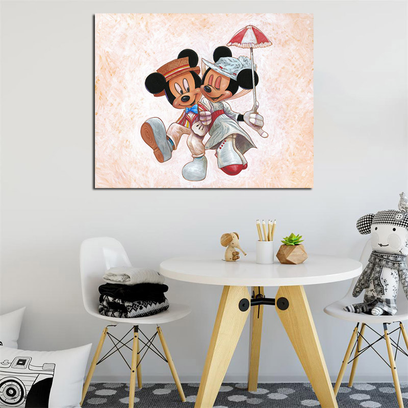Mickey Mouse Jolly Holiday With Minnie Canvas Painting Print Living Room Home Decor Modern Wall Art Oil Poster Artwork