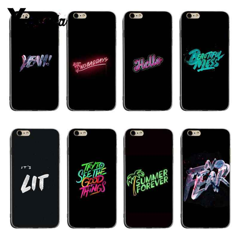 Yinuoda Cool Black Background Word Font Soft Tpu Phone Case Cover For Iphone X Xs Xsmax Xr 8 7 6splus Cellphones