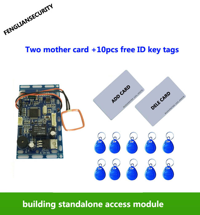 RFID EM/ID Embedded Access Control ,intercom access control lift control with 2pcs mother card 10pcs em key fob,min:1pcs,sn:L05 rfid intercom embedded access control 13 56mhz ic module controller 2000 user