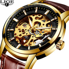 bb663e34d74 LIGE relojes de negocios reloj mecánico automático a cielo abierto de los  hombres acecha reloj de oro para hombre impermeable re.