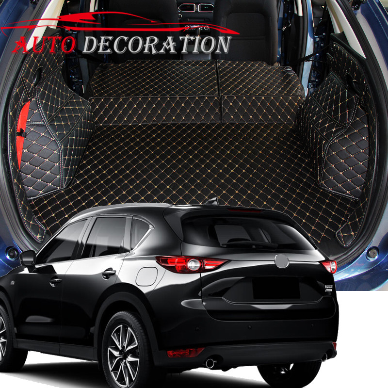 For Mazda CX-5 CX5 2nd Gen 2017 2018 Interior Custom Car Styling Waterproof Full Set Trunk Cargo Liner Mats Tray Protector for mazda cx 5 cx5 2017 2018 2nd gen lhd auto at gear panel stainless steel decoration car covers car stickers car styling