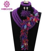 Роскошные Фиолетовый бисер нигерийские свадьбные африканские ювелирные изделия комплекты для невест Для женщин ювелирные украшения с цве