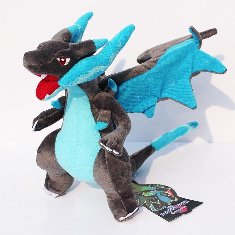25cm Mega Charizard Plush Toys Blue Charizard Soft Stuffed Dolls Gift for Children