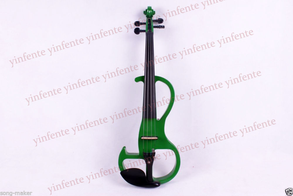 1x Violin 4/4 Electric Violin Powerful Sound Solid wood Ebony Part Green #2 one 4 string 4 4 violin electric violin acoustic violin maple wood spruce wood big jack green color