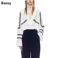 2018 Early Spring Self Portrait Women Blouse Ruffle White Loose Striped Chiffon Office Shirts Long Sleeve