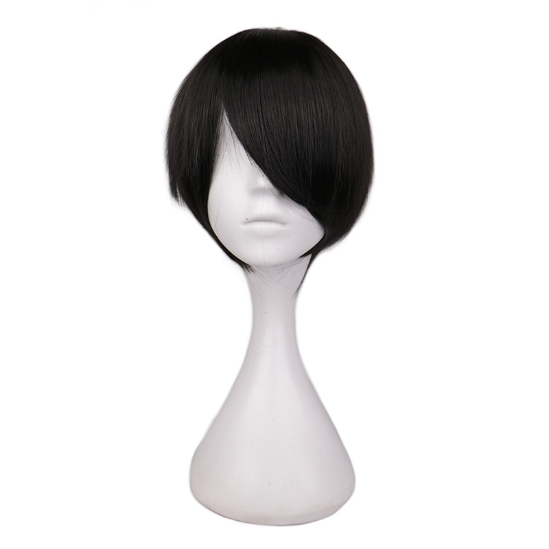 QQXCAIW Short Hair Cosplay Wig Male Party 30 Cm Black White Purple High Temperature Fiber Synthetic Hair Wigs