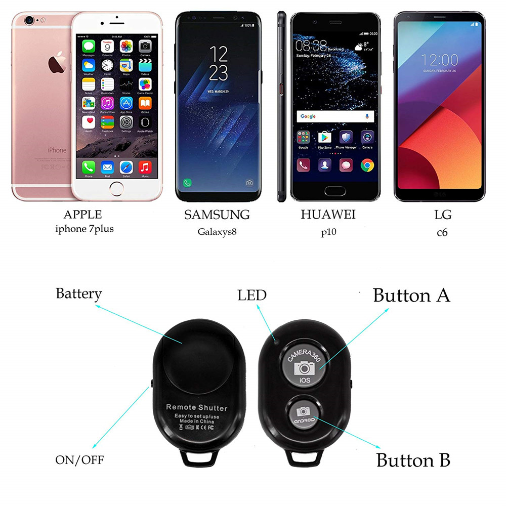 Bluetooth Phone Self Timer Shutter Button for iPhone selfie stick Shutter Release Wireless Remote Control for Huawei in Shutter Release from Consumer Electronics