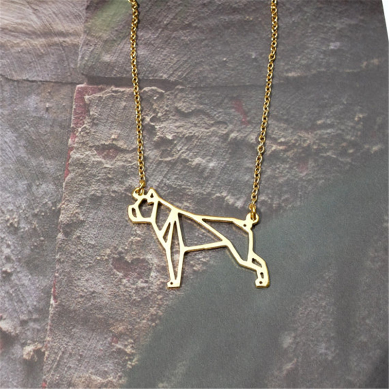 cute pet Origami Boxer dog Pendant Choker Necklace for women girls delicate Christmas gift Jewelry gold silver plate
