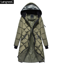 TANGNEST New Woman Navy Green Long Parka 2017 Winter Fashion Thick Casual Cotton Padded Jacket Leather Hooded Down WWM1353