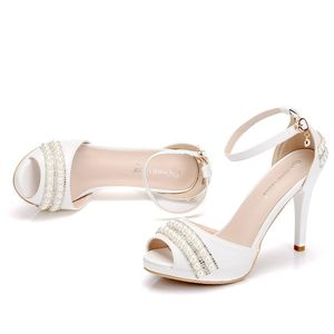 Image 5 - Crystal Queen Sexy Women Sandals High Heels Pearl Rhinestone Thin Heel Sandals Woman Flock Open Toe Ankle Strap Party Shoes