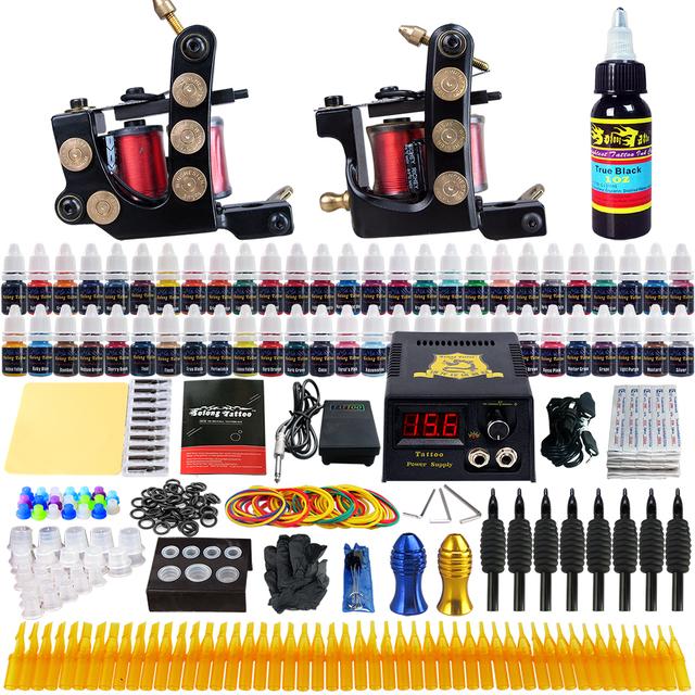 Pro Kits Completos Tatuaje 2 Ametralladoras fuente de alimentación Espiral Hecha A Mano 54 colores 8 ml de tinta Conjunto TKB06US