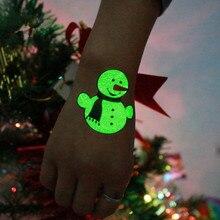 Temporary-Tattoo-Sticker-Ornaments Luminous Decoration Navidad Snowman Elf-Tree Gifts