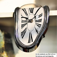 Creative home seat twisted clock melting Roman numeral table corner decoration clock retro wall space clock